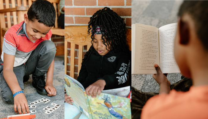 Children of color reading
